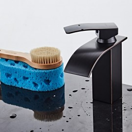 Homgeek Modern Single Handle Waterfall Spout Bathroom Vanity Sink Brass Faucet ORB Lavatory Basin Mixer Taps Home Hotel