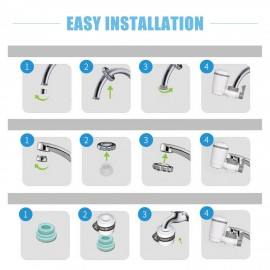 Faucet Water Filter with Activated Carbon Filtration System for Hard Water Reduces Lead Fluoride Chlorine Easy Installation Water Purifier for Home Kitchen Bathroom