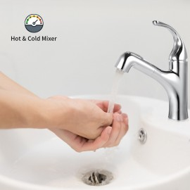 Bar Sink Faucet Single-Hole Single-Handle Pull-Out Sprayer Bathroom  Faucet with Dual Spray in Chrome Lead-Free