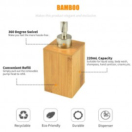 500mL Bathroom Soap Dispenser Lotion Shampoo Dispenser Bottle Holder Kitchen Bamboo Liquid Hand Soap Dispenser Pump