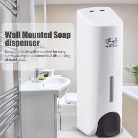 350mL Manual Soap Dispenser Wall Mounted Dish Liquid Lotion Gel Shampoo Chamber Dispenser for Bathroom Kitchen