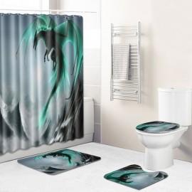 3Pcs/Set Flying Dragon Printed Pattern Flannel Bathroom Set Decor Non-Slip Pedestal Rug & Lid Toilet Cover & Bath Mat